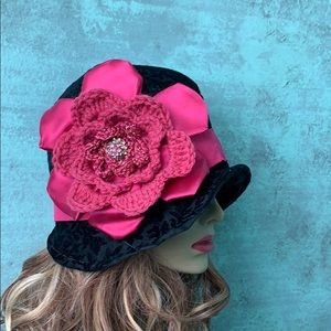 Accessories - Custom black and pink cloche
